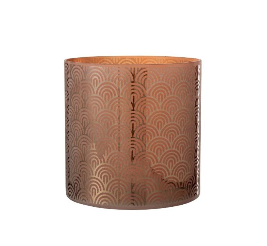 Theelichthouder Glas Bogen Oranje Bruin - Extra Large