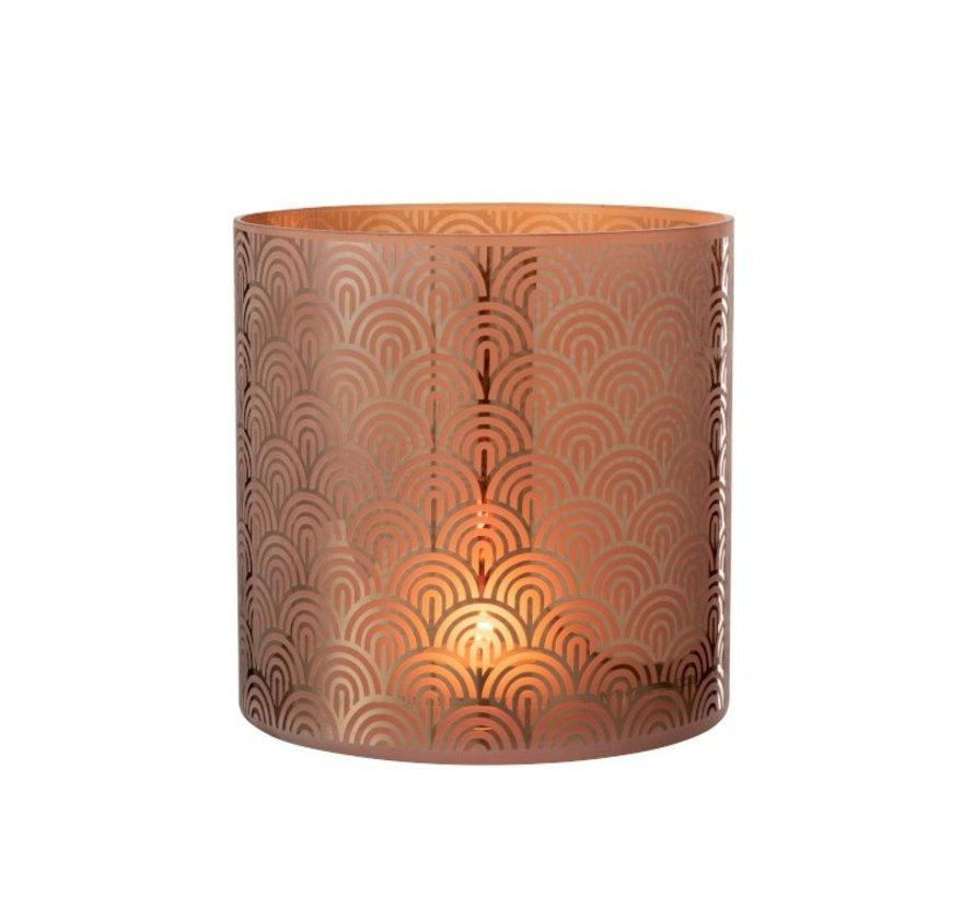 Tealight holder Glass Bows Orange Brown - Extra Large