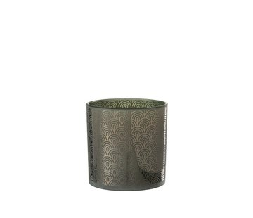 J-Line Tealight holder Glass Bows Green - Large
