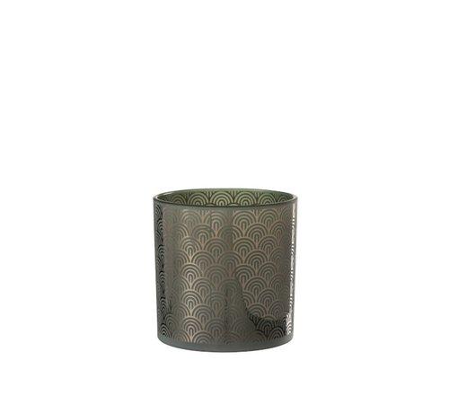 J-Line Theelichthouder Glas Bogen Groen - Large