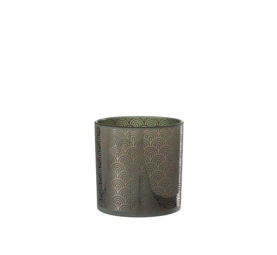 Theelichthouder Glas Bogen Groen - Large