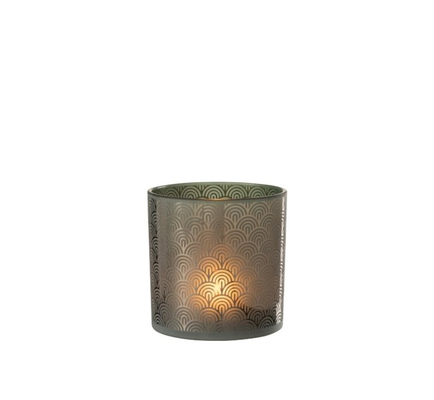 Tealight holder Glass Bows Green - Large