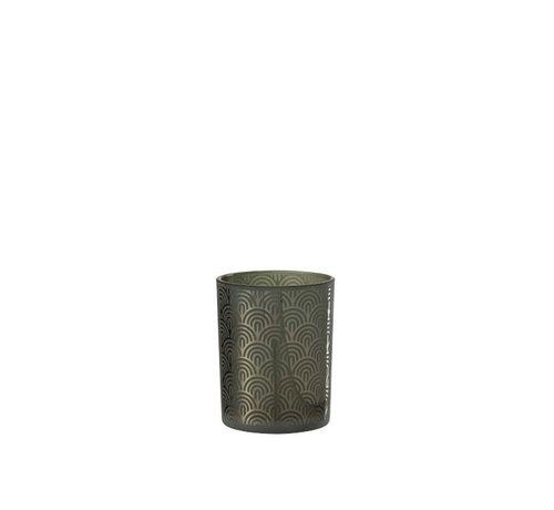 J -Line Theelichthouder Glas Bogen Groen - Medium