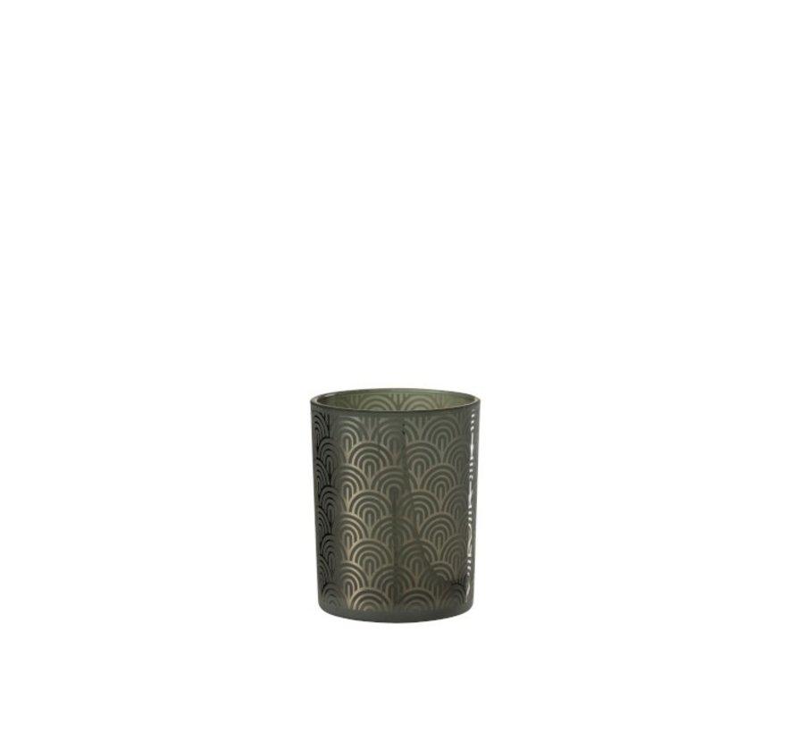 Theelichthouder Glas Bogen Groen - Medium