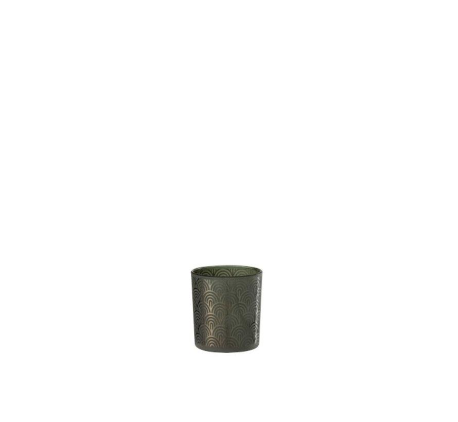 Theelichthouder Glas Bogen Groen - Small