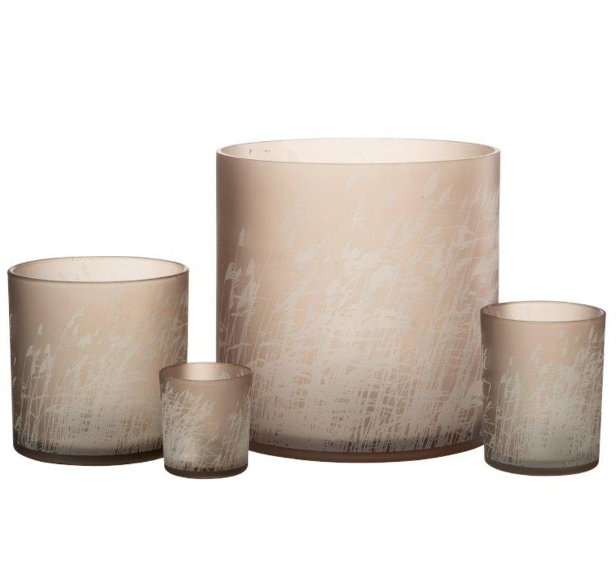 Theelichthouder Glas Cilinder Gerst  - Extra Large