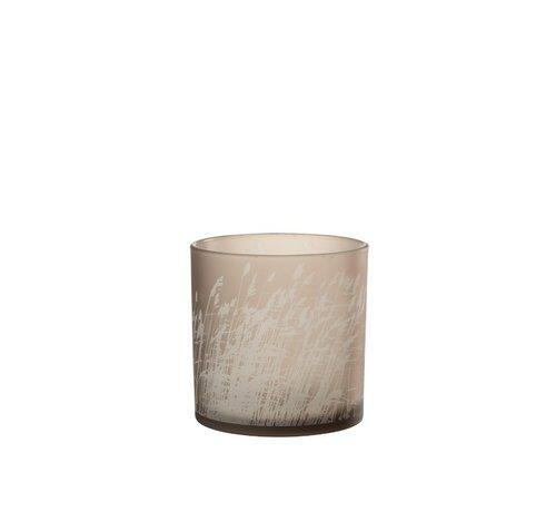 J-Line  Theelichthouder Glas Cilinder Gerst  - Large