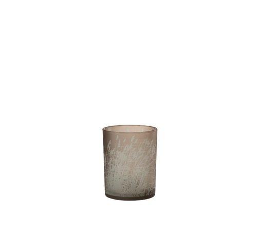 J-Line Theelichthouder Glas Cilinder Gerst  - Medium