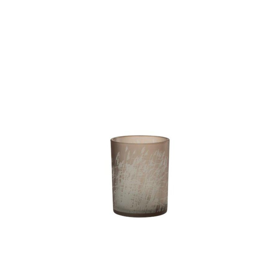 Tealight Holder Glass Cylinder Barley - Medium