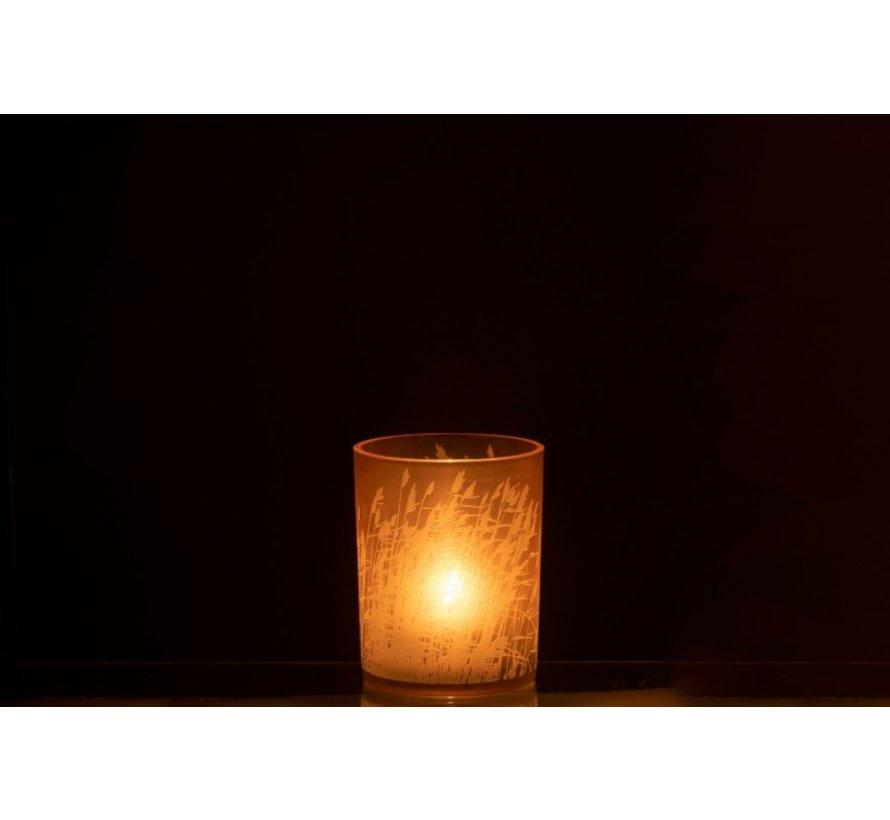 Theelichthouder Glas Cilinder Gerst  - Medium