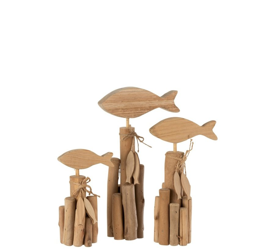 Decoration Fish On Branches Oak Natural - Large