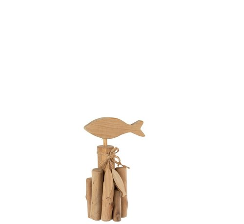 J -Line Decoration Fish On Branches Oak Natural - Small