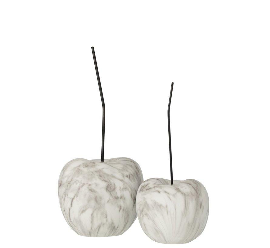 Decoration Cherry Marble Effect White Black - Large