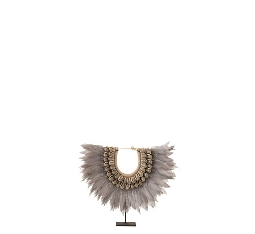 J-Line Decoration Chain On Tripod Feather Shells - Gray