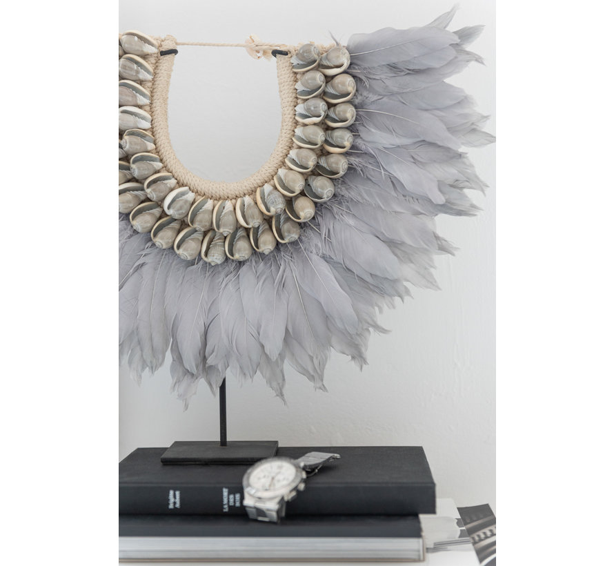 Decoration Chain On Tripod Feather Shells - Gray