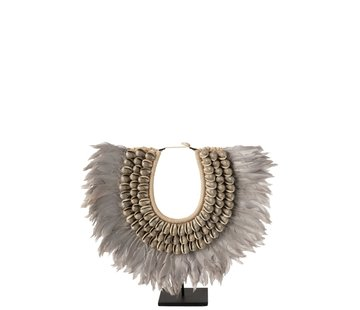 J -Line Decoration Necklace On Tripod Feather Shells Gray - Large