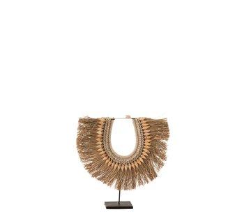 J -Line Decoration Necklace On Tripod Seagrass Shells Beige - Large