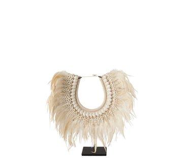 J-Line  Decoration Necklace On Tripod Feather Shells White - Large