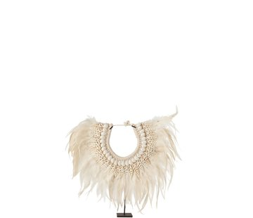 J-Line  Decoration Necklace On Tripod Feather Shells White - Small