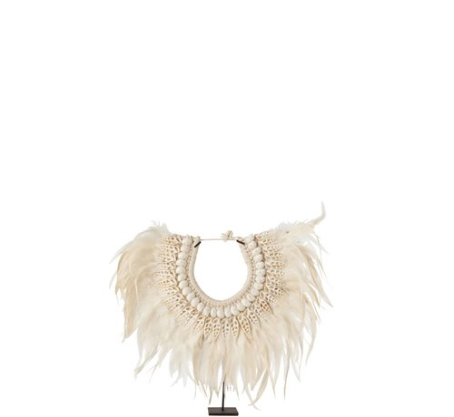 J -Line Decoration Necklace On Tripod Feather Shells White - Small