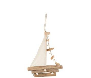 J -Line Decoration Sailboat Shells Oak Natural - Small