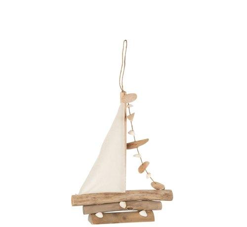 J-Line Decoratie Zeilboot Schelpen Eikenhout Naturel - Small