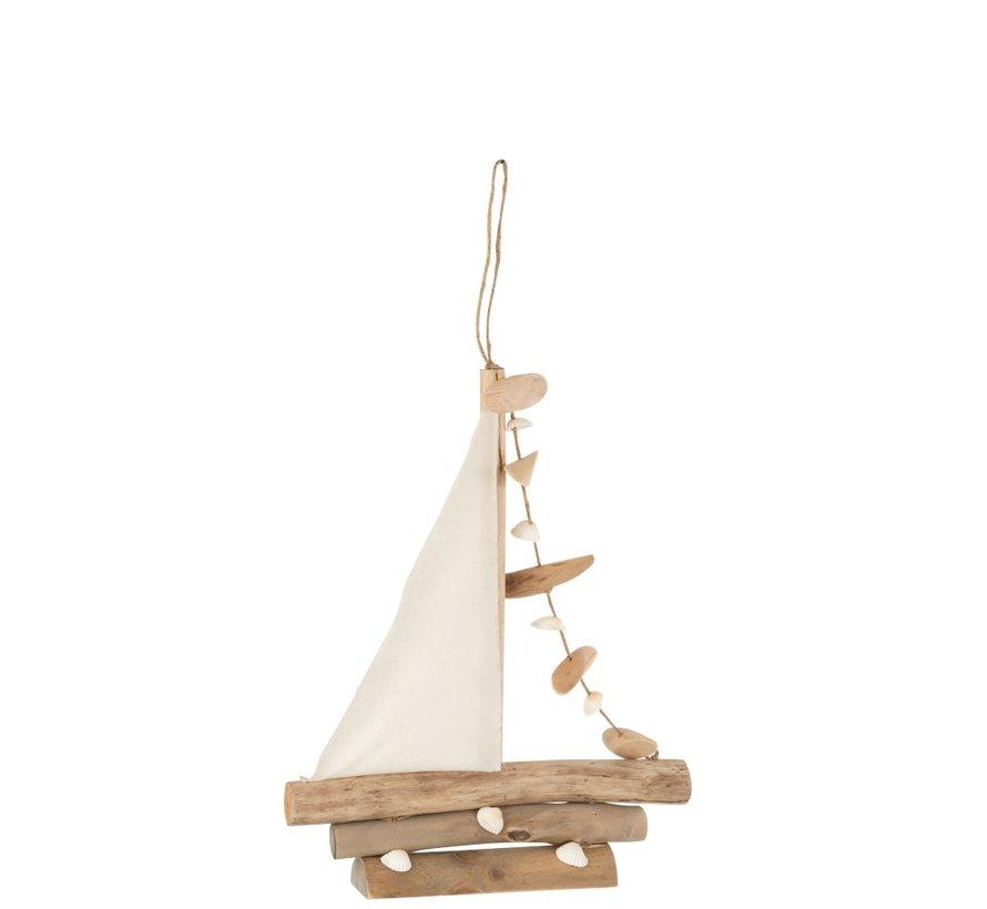 Decoratie Zeilboot Schelpen Eikenhout Naturel - Small