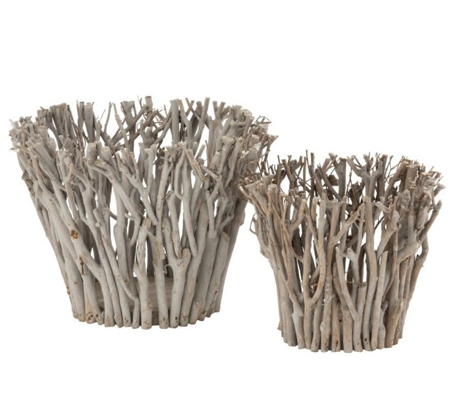 Tealight Holder Rural Branches Natural - Large