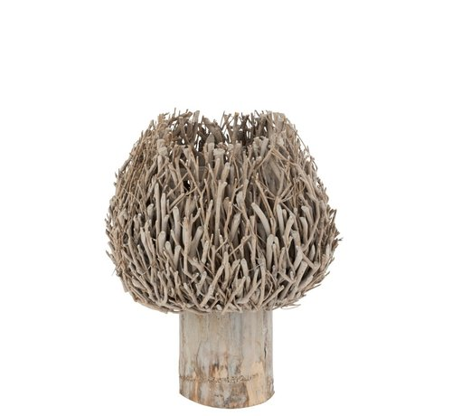 J -Line Tealight Holder On Foot Rural Branches - Gray