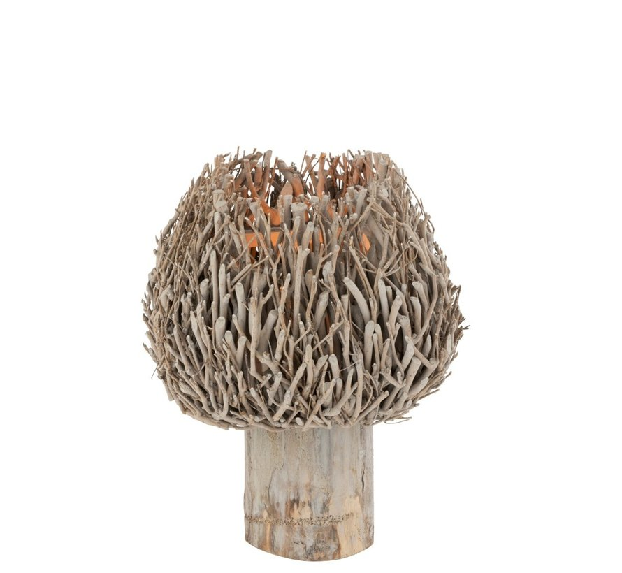 Tealight Holder On Foot Rural Branches - Gray