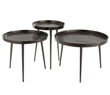 J -Line Side tables Round Plateau Wide Legs - Dark Gray