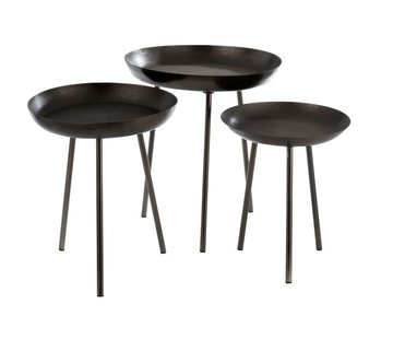 J-Line Side tables Round Plateau High Edge - Dark Gray