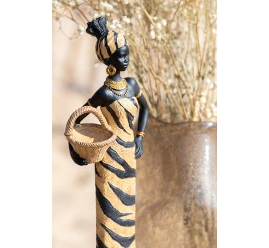Decoratie Figuur Afrikaanse Vrouwen Baby Op Rug - Bruin