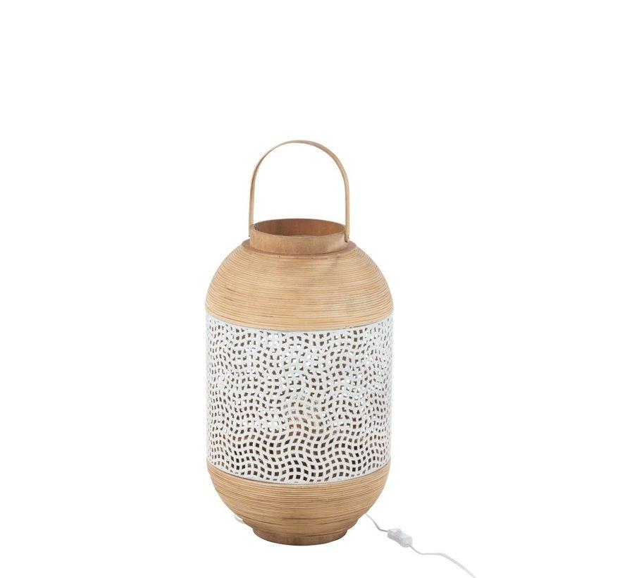Vloerlamp lantaarn Handvat Smeedwerk Rotan - Wit