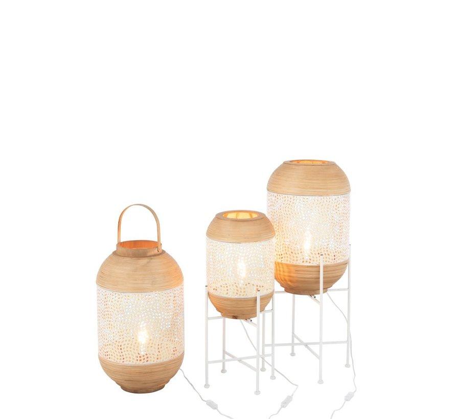 Staande Lamp Op Voet Smeedwerk Rotan Wit - Large