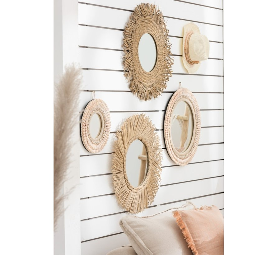 Wandspiegel Rond Schelpen Lichtroze - Small