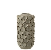 J -Line Vase Ceramic Shells Motif Gray - Small