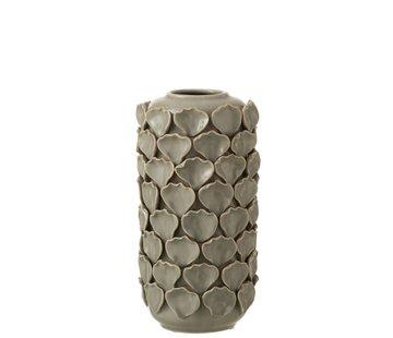 J -Line Vase Ceramic Shells Motif Gray - Small