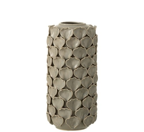 J -Line Vase Ceramic Shells Motif Gray - Large