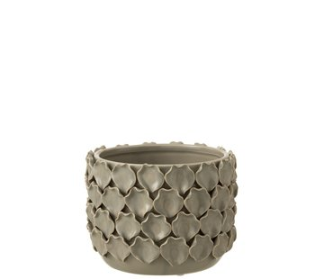 J -Line Flowerpot Ceramic Shells Motif - Gray