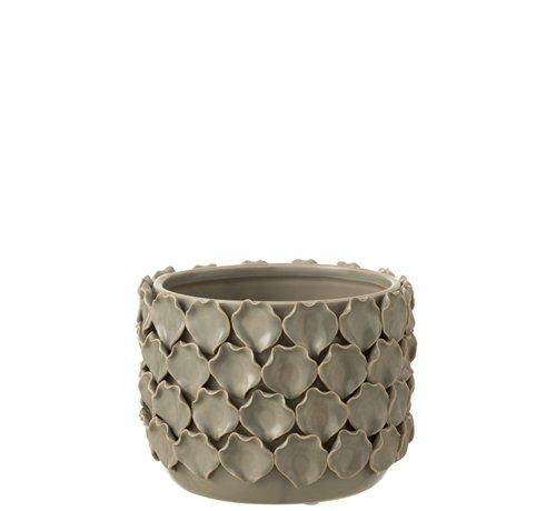 J-Line  Flowerpot Ceramic Shells Motif - Gray