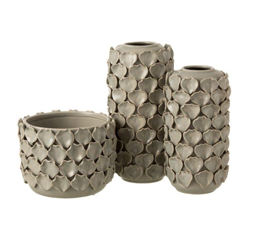 Flowerpot Ceramic Shells Motif - Gray