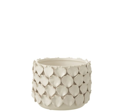 J-Line Flowerpot Ceramic Shells Motif - White