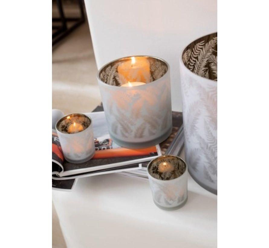 Tealight Holder Glass Long Leaves White - Small