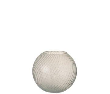 J -Line Vase Glass Ribbed Round White - Small