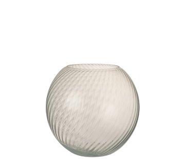 J -Line Vase Glass Ribbed Round White - Large