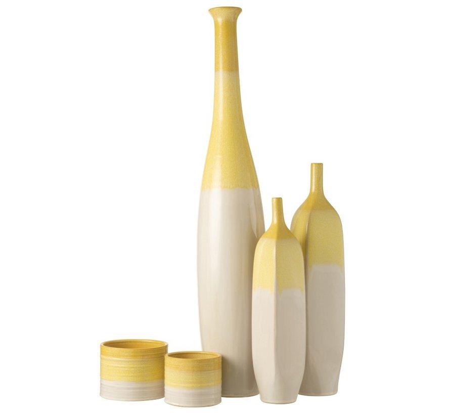 Bottles Vase Ceramic Fluo Yellow White - Extra Large