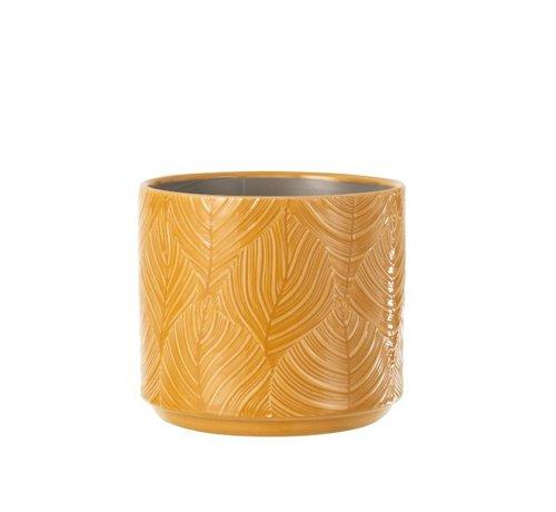 J -Line Flowerpot Ceramic Leaves Ocher - Large