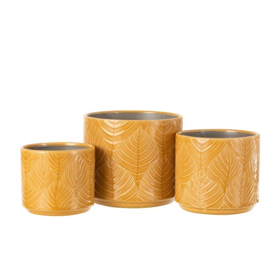 Flowerpot Ceramic Leaves Ocher - Large