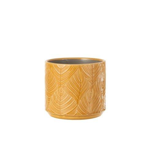 J-Line Flowerpot Ceramic Leaves Ocher - Medium